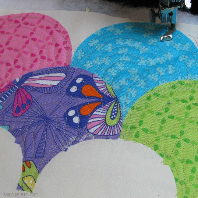 closeup of quilting on the clamshells