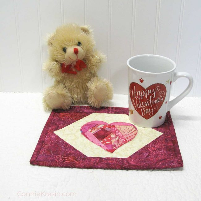 Crazy Heart Mug Rug