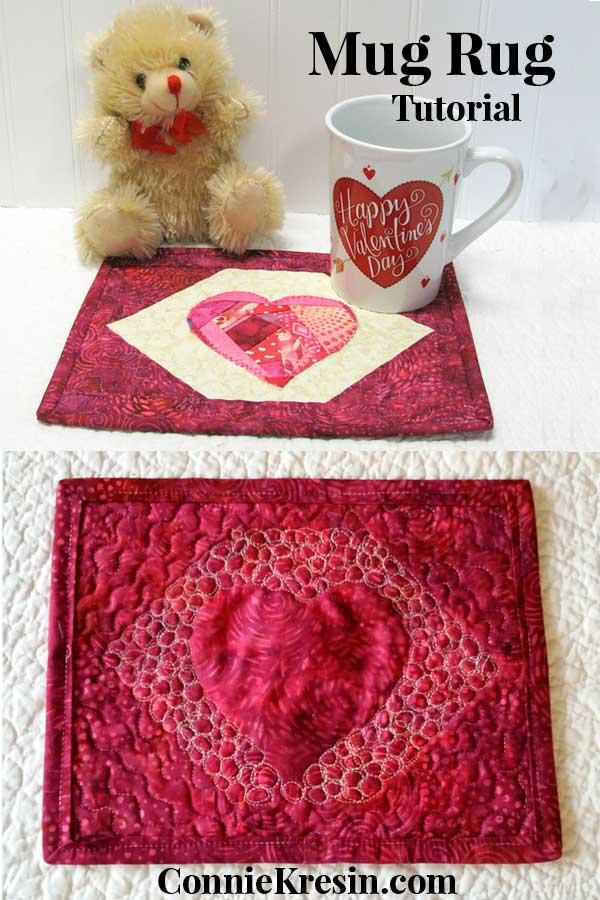 Crazy Heart mug rug tutorial