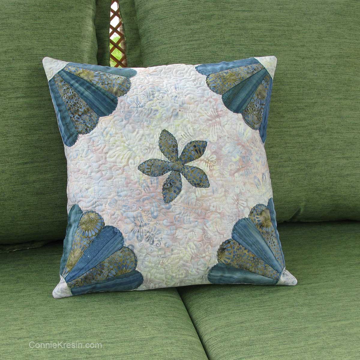 Dresden Flower pillow on deck chair closeup