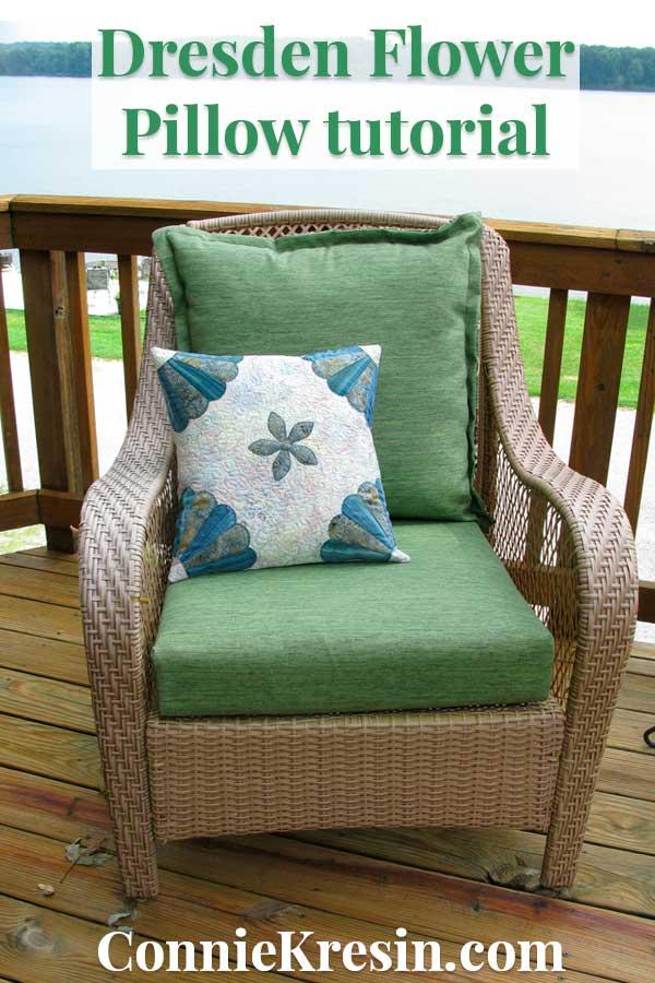 Dresden Flower pillow on deck chair tutorial
