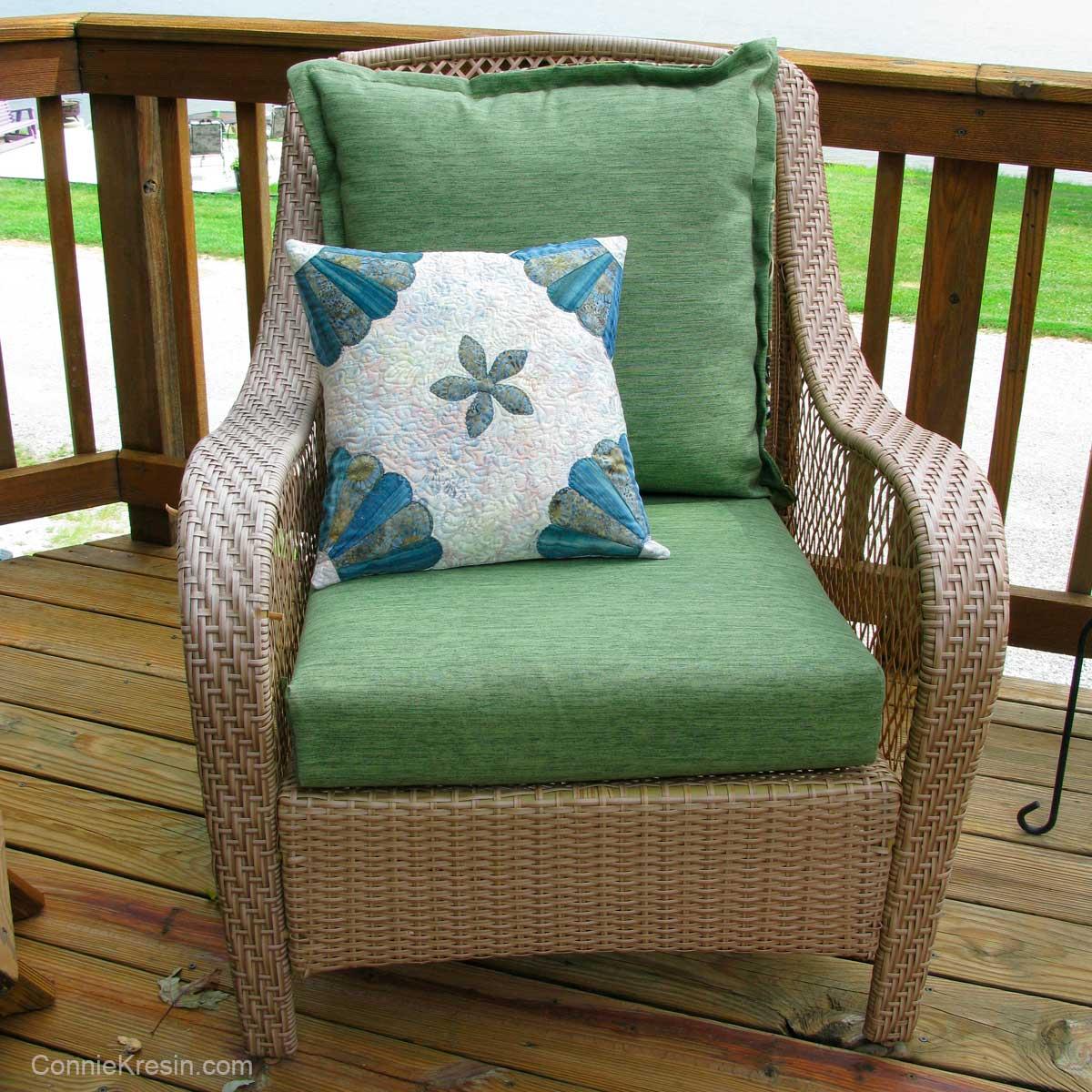 Dresden Flower pillow on deck chair