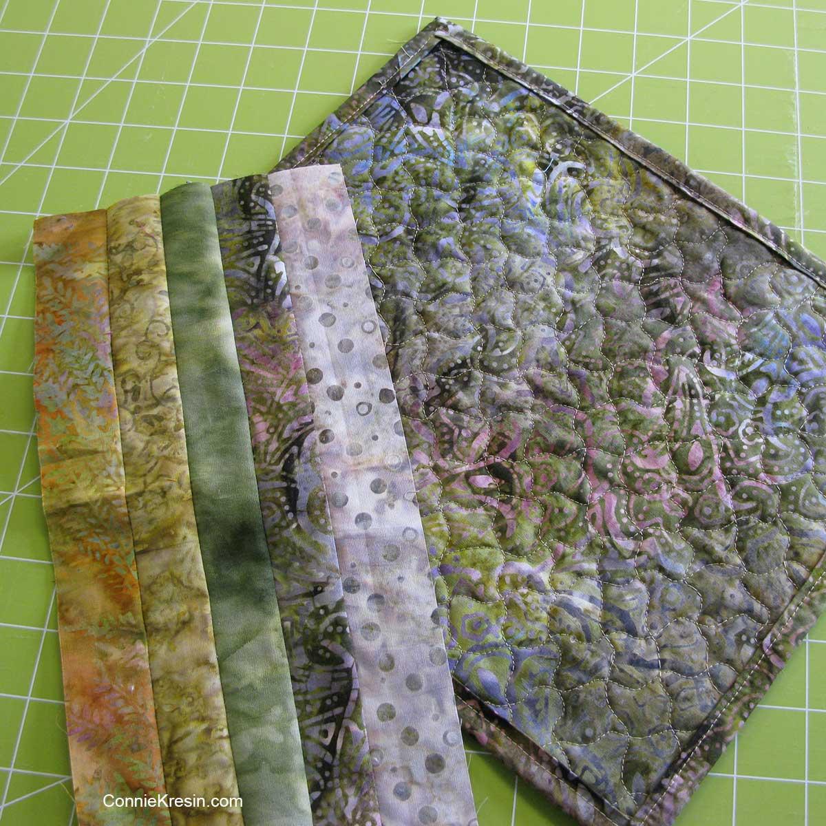 fabric strips for mug rug