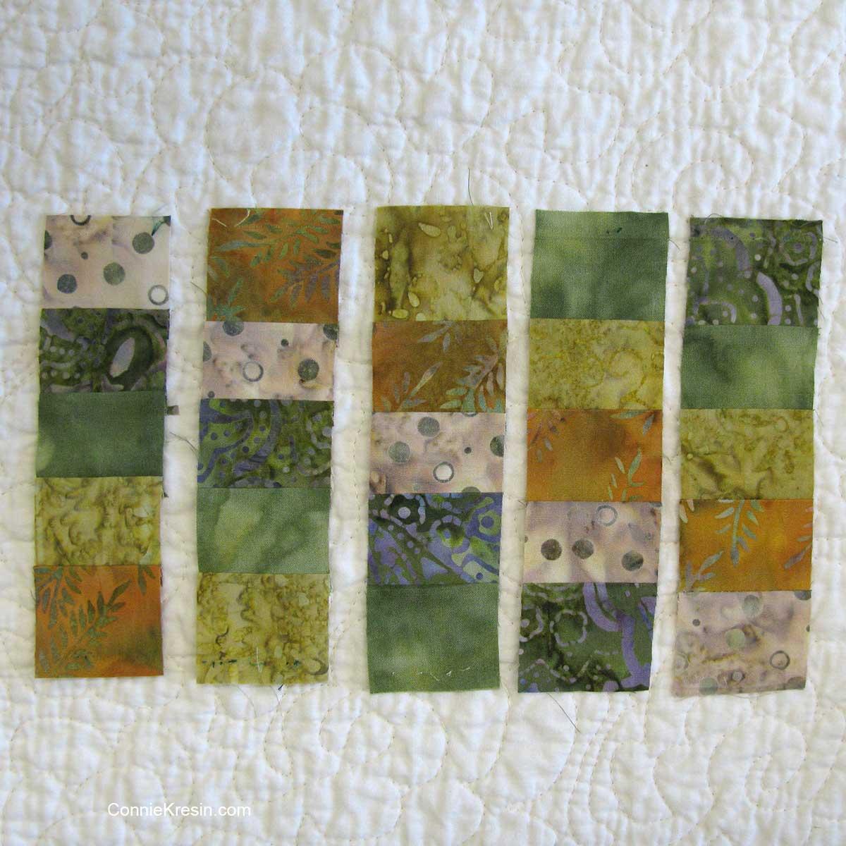 rows of blocks for the mug rug