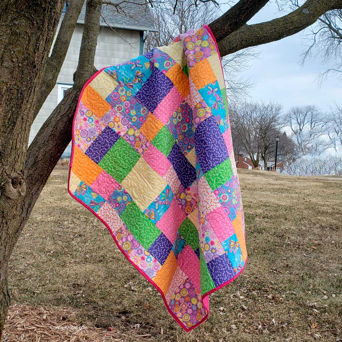 Stacks quilt pattern made with quilt fabrics for children
