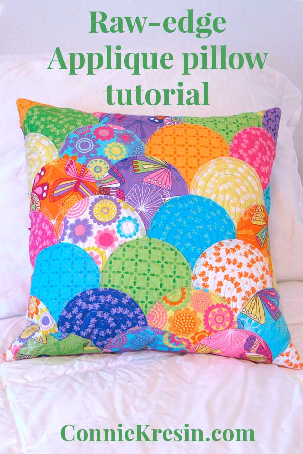 Clamshell pillow raw-edge applique tutorial