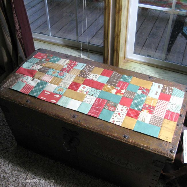 making the tablerunner fit the hope chest