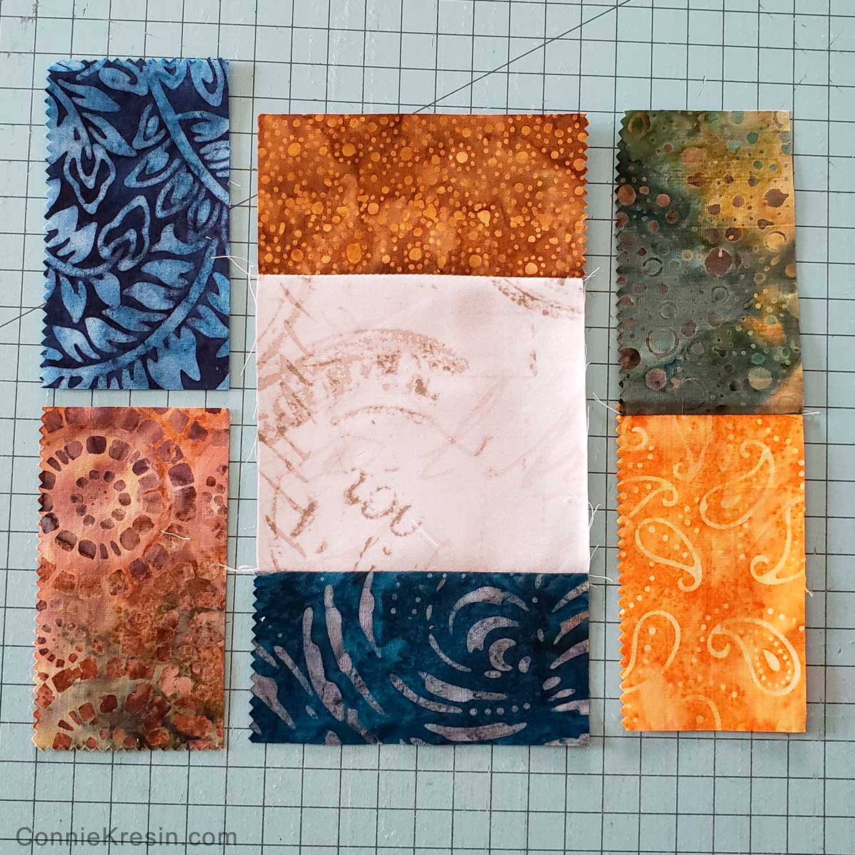 Sew block sections together