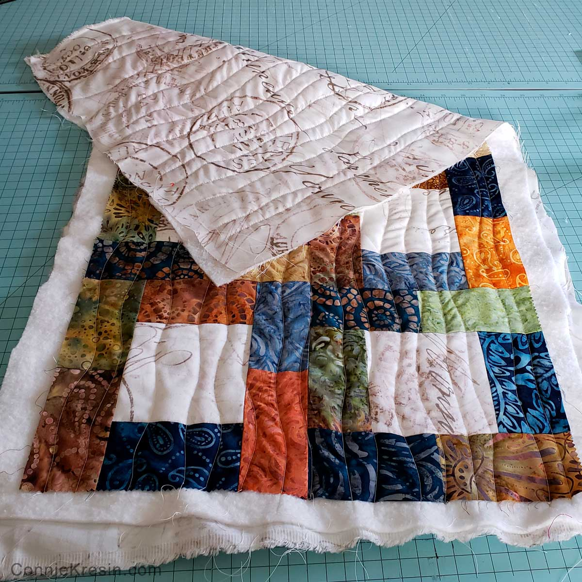 Quilted on back of table runner