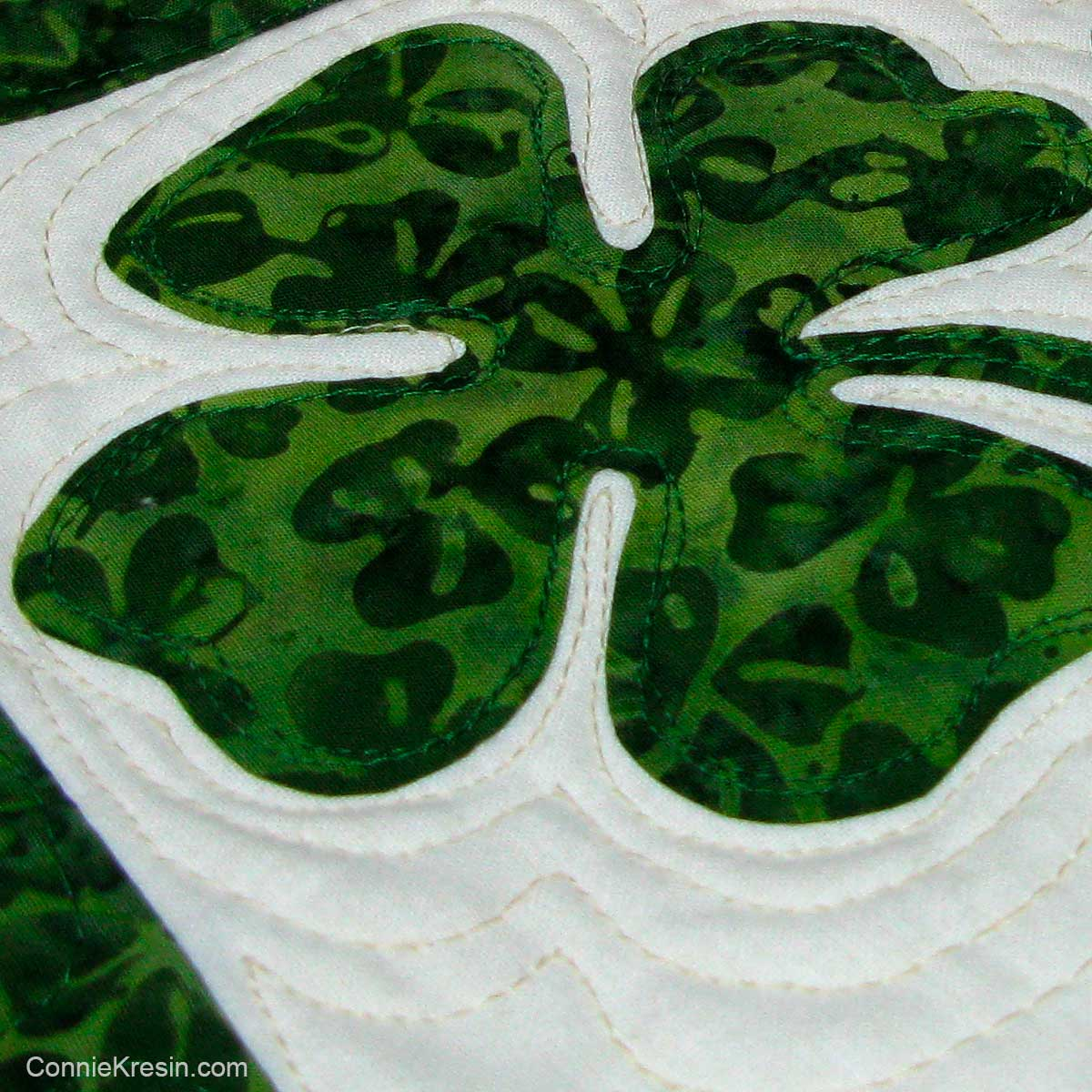 Closeup of shamrock applique