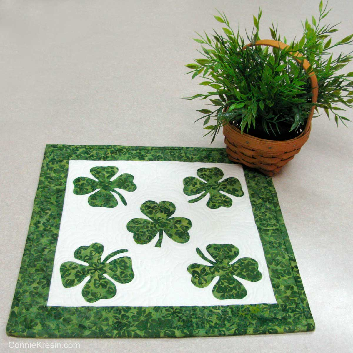 Shamrock table topper perfect for St. Patrick's Day