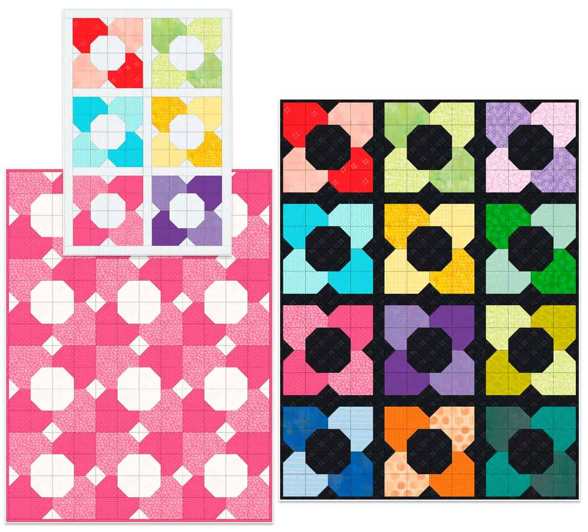 Samples of the morning glory quilt block