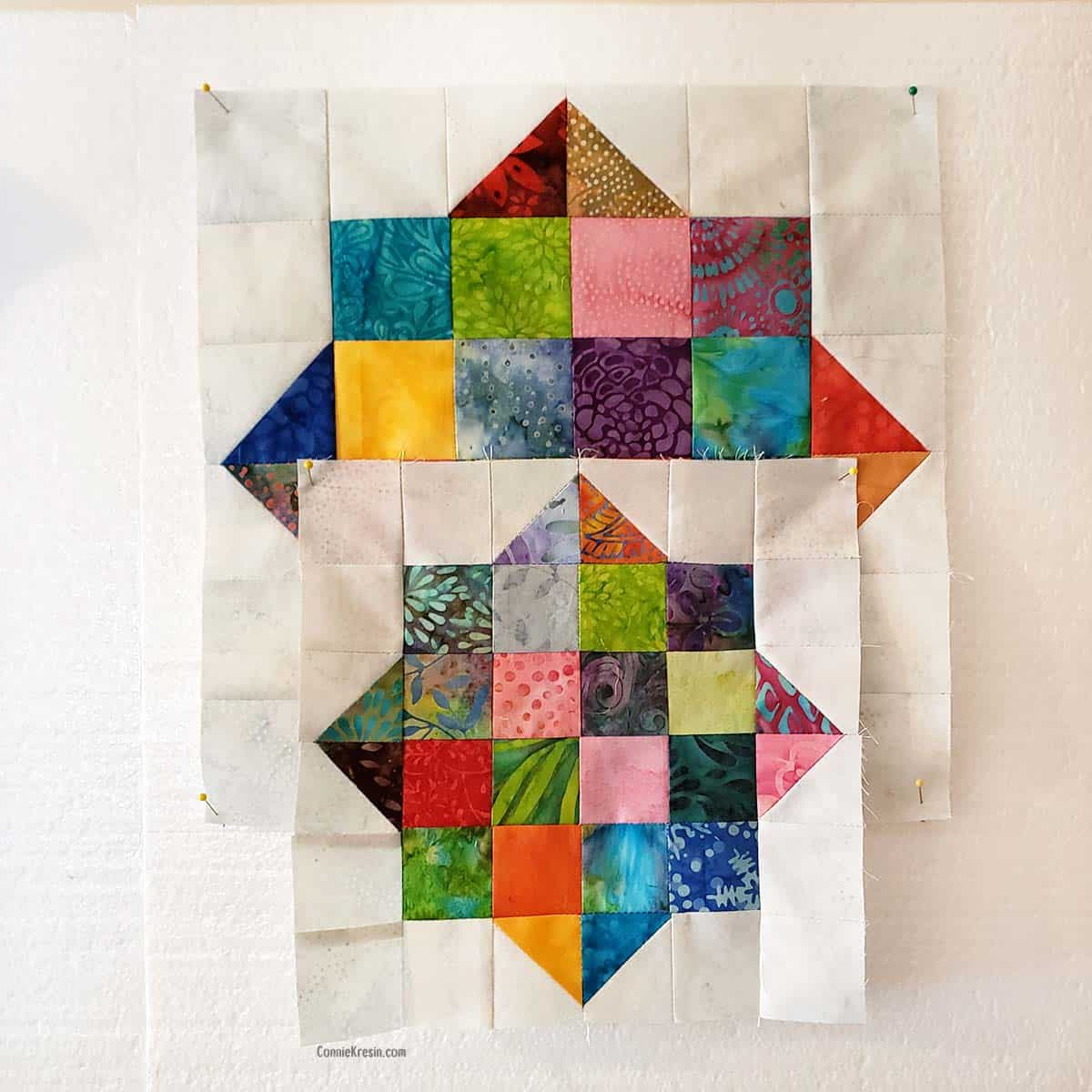 Creating different sizes of the River Scraps block