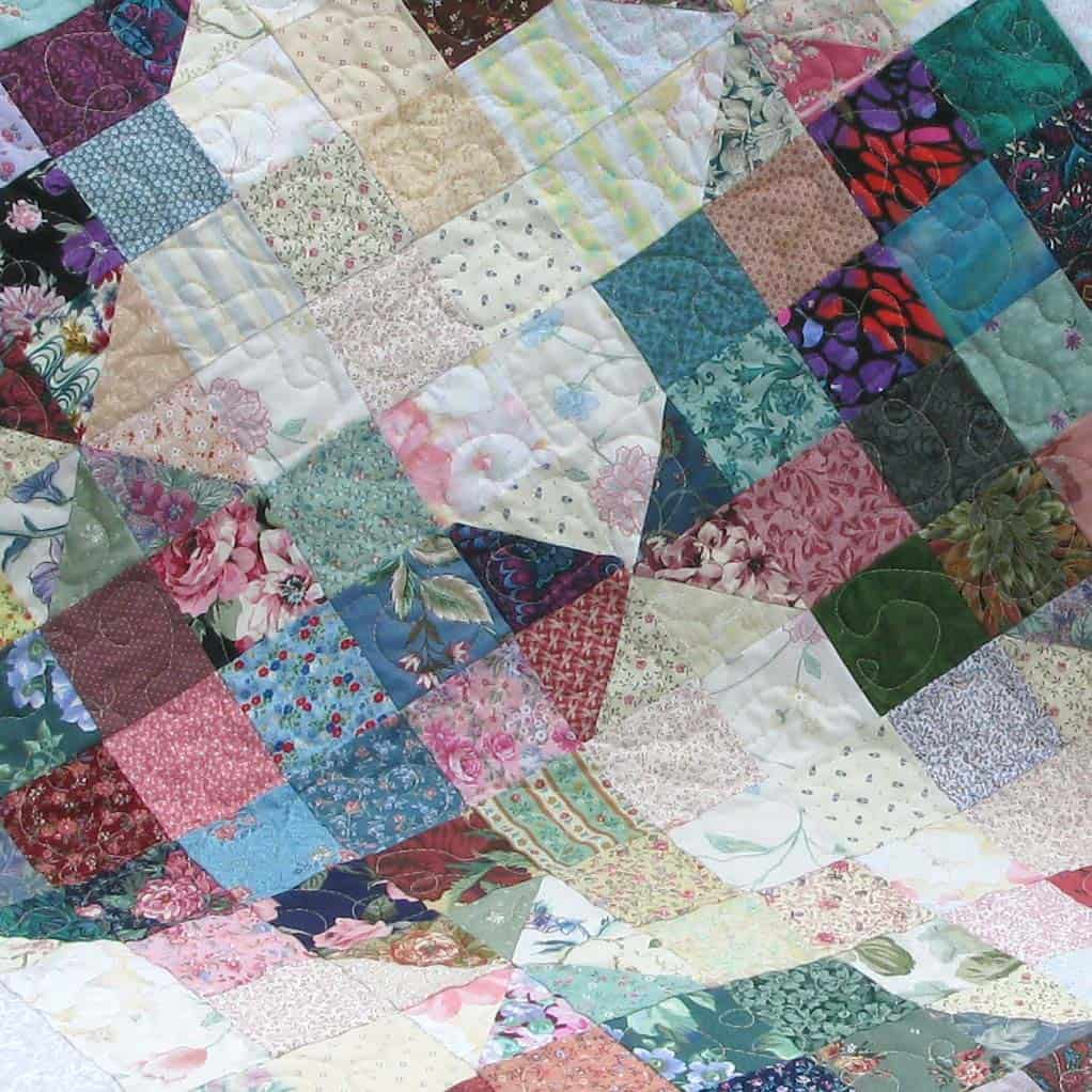 River Scraps quilt before washing