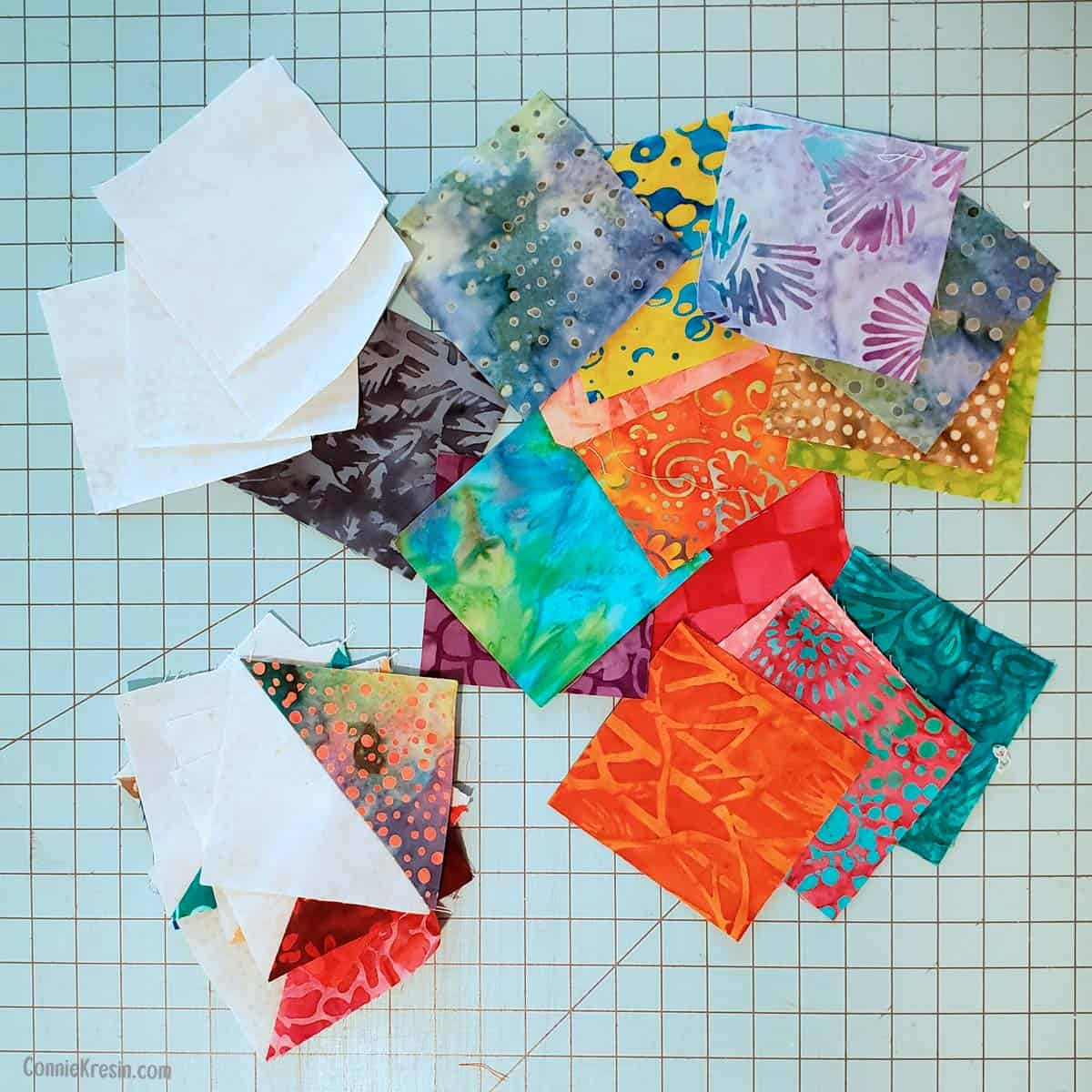 Batik scraps for the River Scraps block