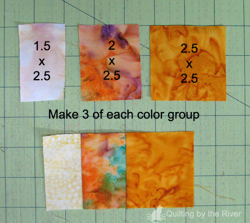 Stacked Rainbow color groups of batiks