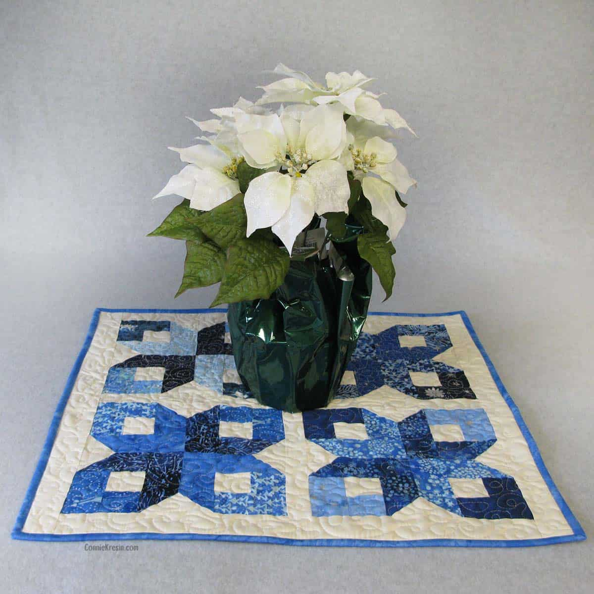 Winter Wonderland table topper tutorial with Christmas flowers