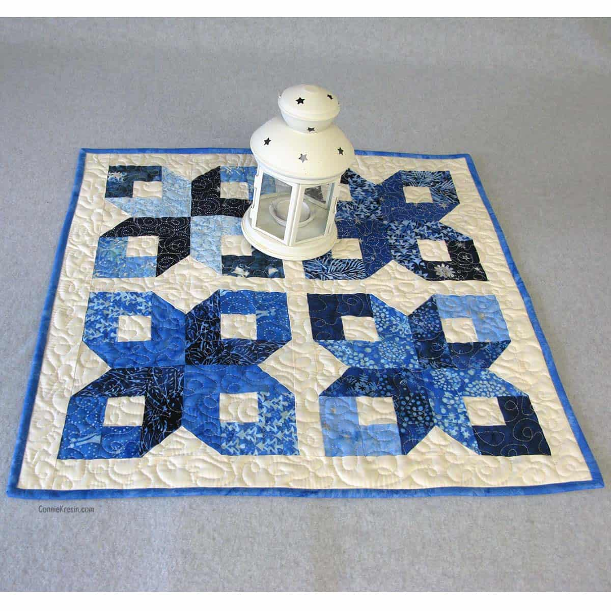 Winter Wonderland table topper tutorial with lantern