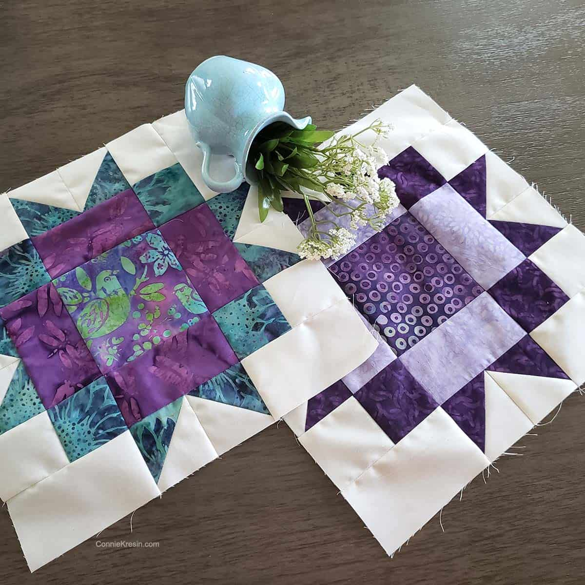 Maple Star quilt block tutorial with flowers