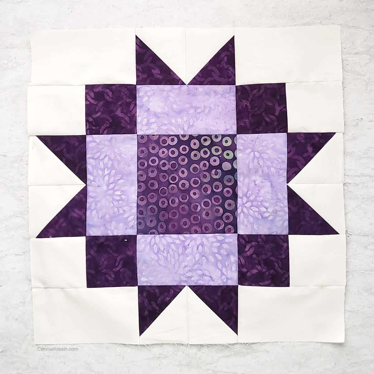 Maple Star quilt block tutorial 12 inch purple block