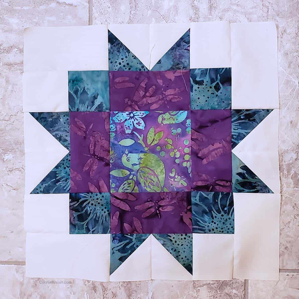 Maple Star quilt block tutorial 12 inch block with teal batiks