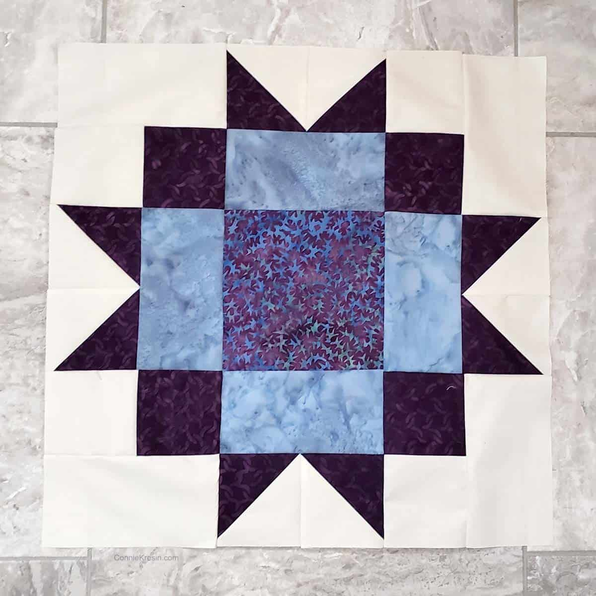 Maple Star quilt block tutorial  18 inch block