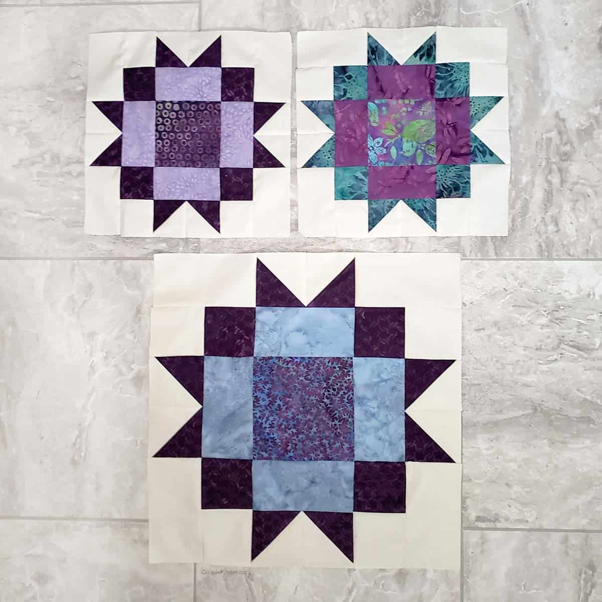Maple Star quilt block tutorial  in two sizes