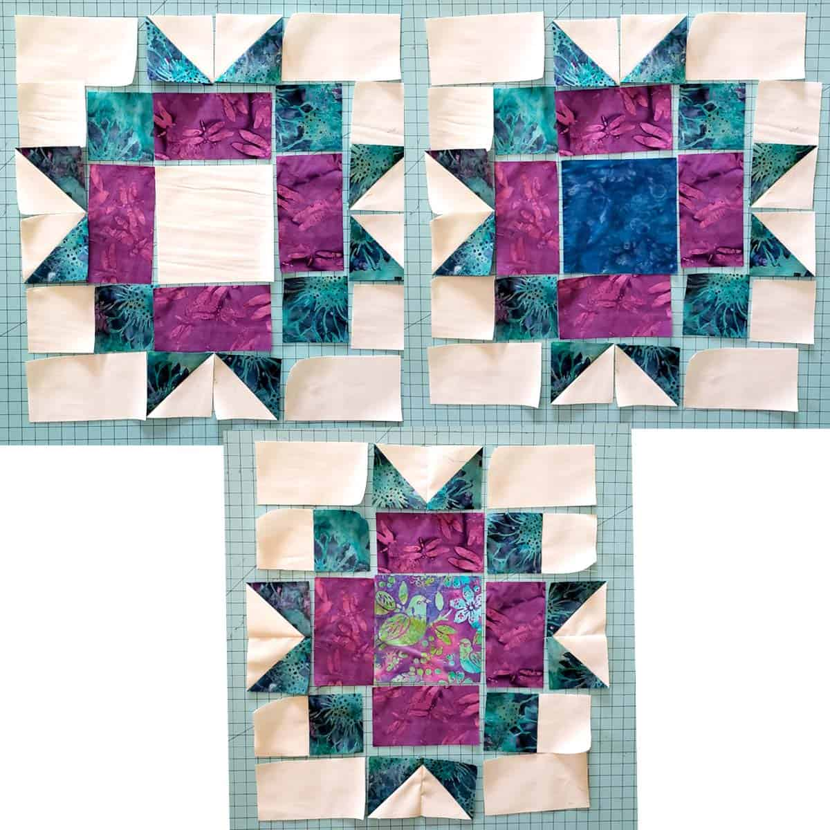 Maple Star quilt block variations in colors