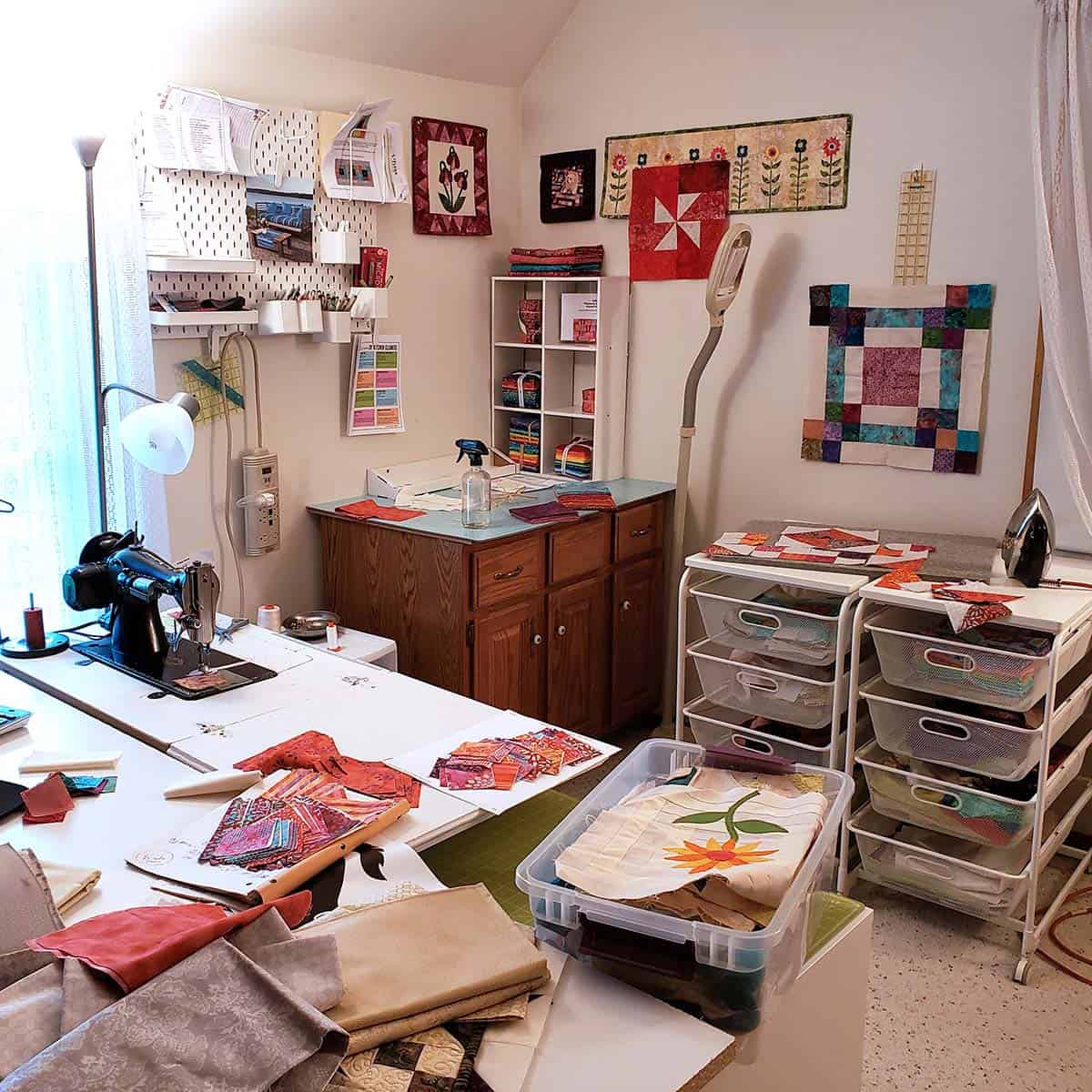 Messy quilt room