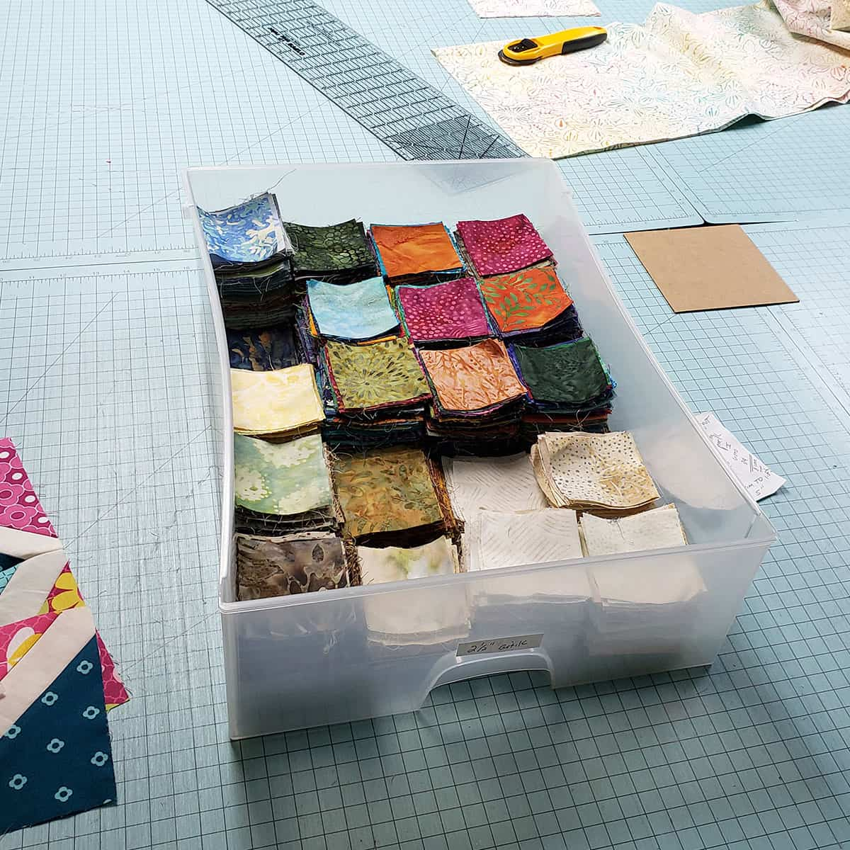 Organizing batik scrap blocks