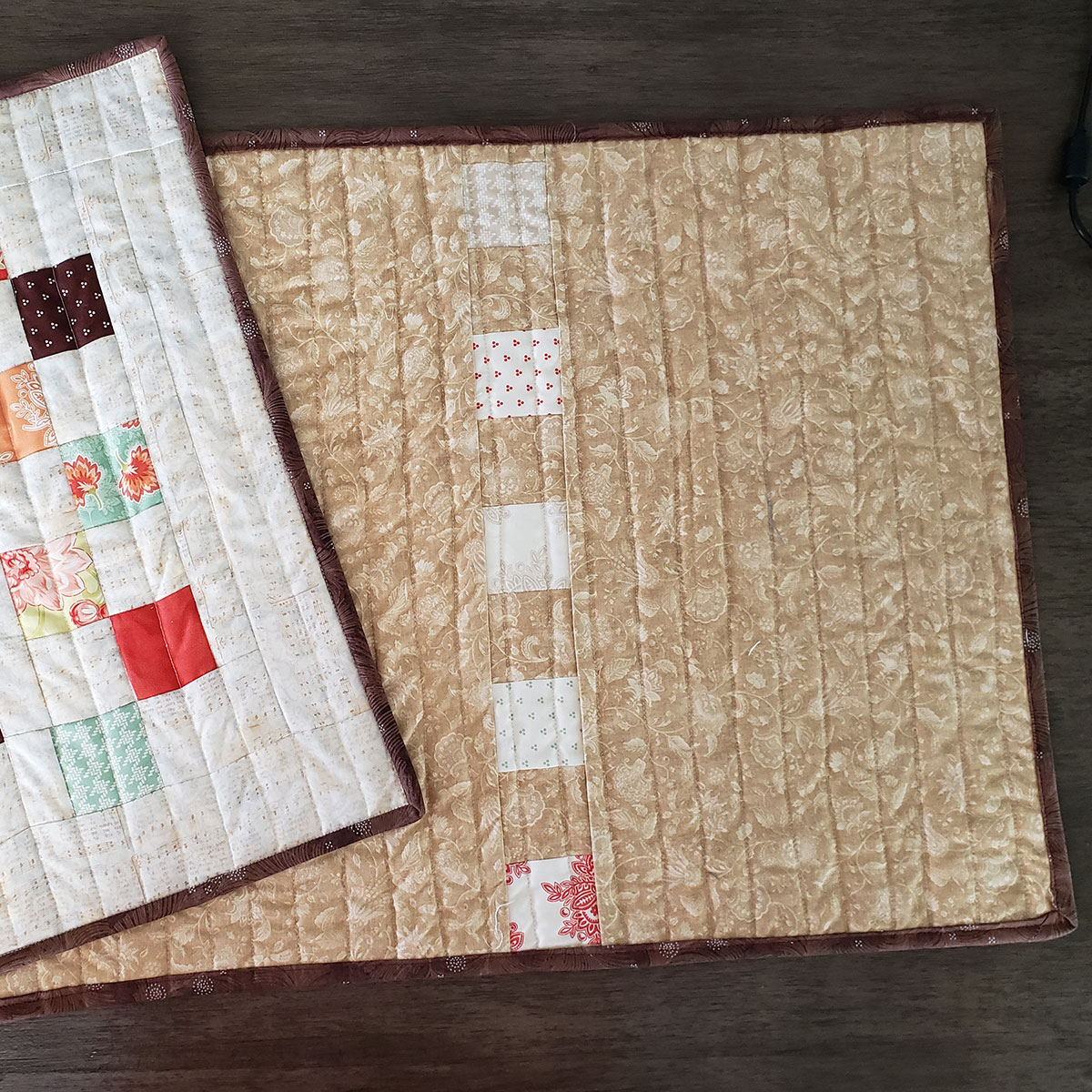 Add scraps to back of quilt