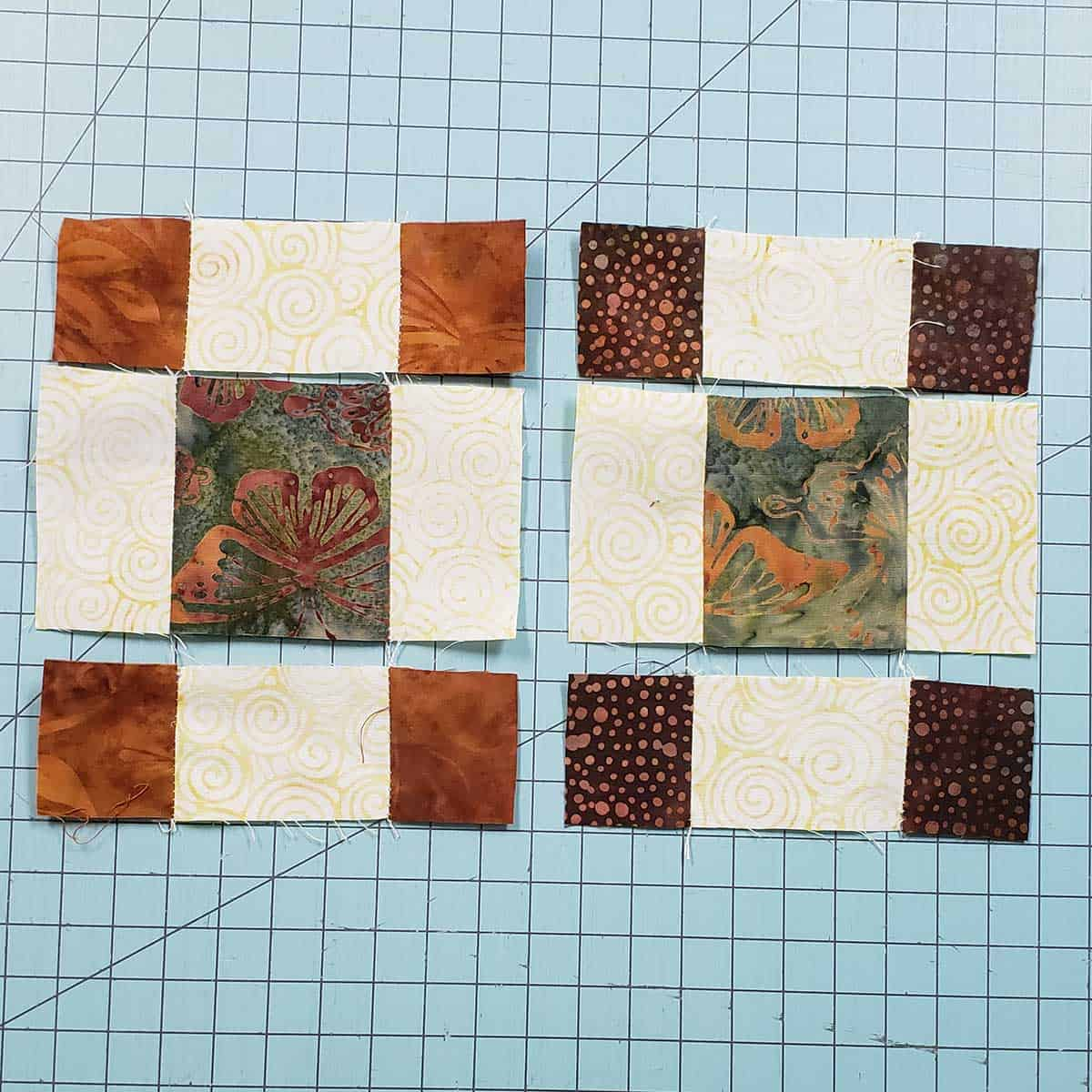 Squares and rectangles cut with the 4-inch AccuQuilt GO! Qube