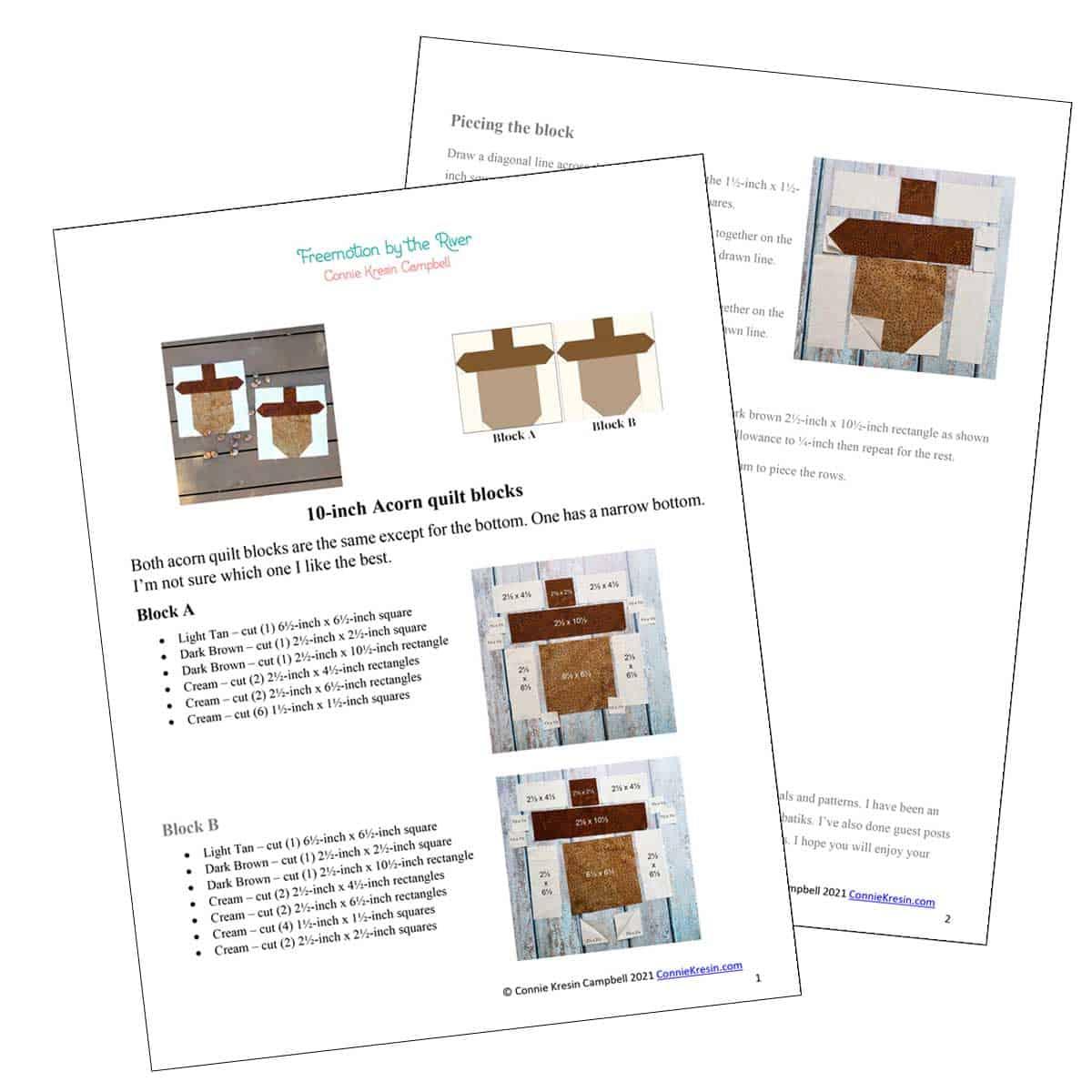PDF of the acorn quilt block