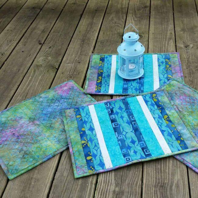 Batik QAYG placemats on deck