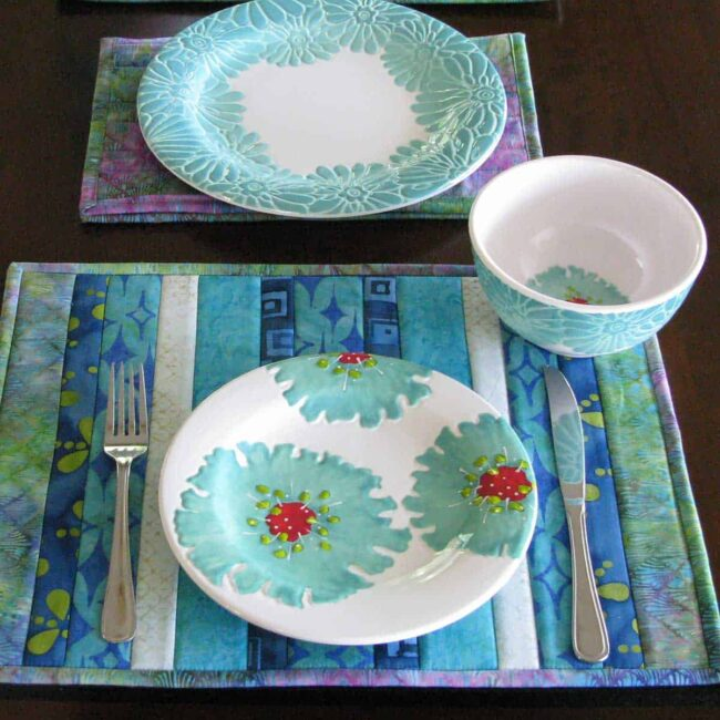 Batik QAYG placemats with dishes