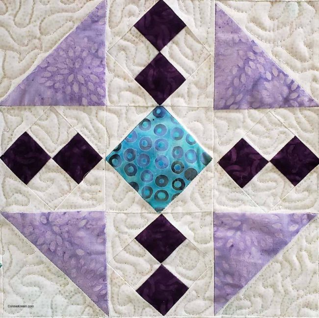 Closeup of free-motion quilting
