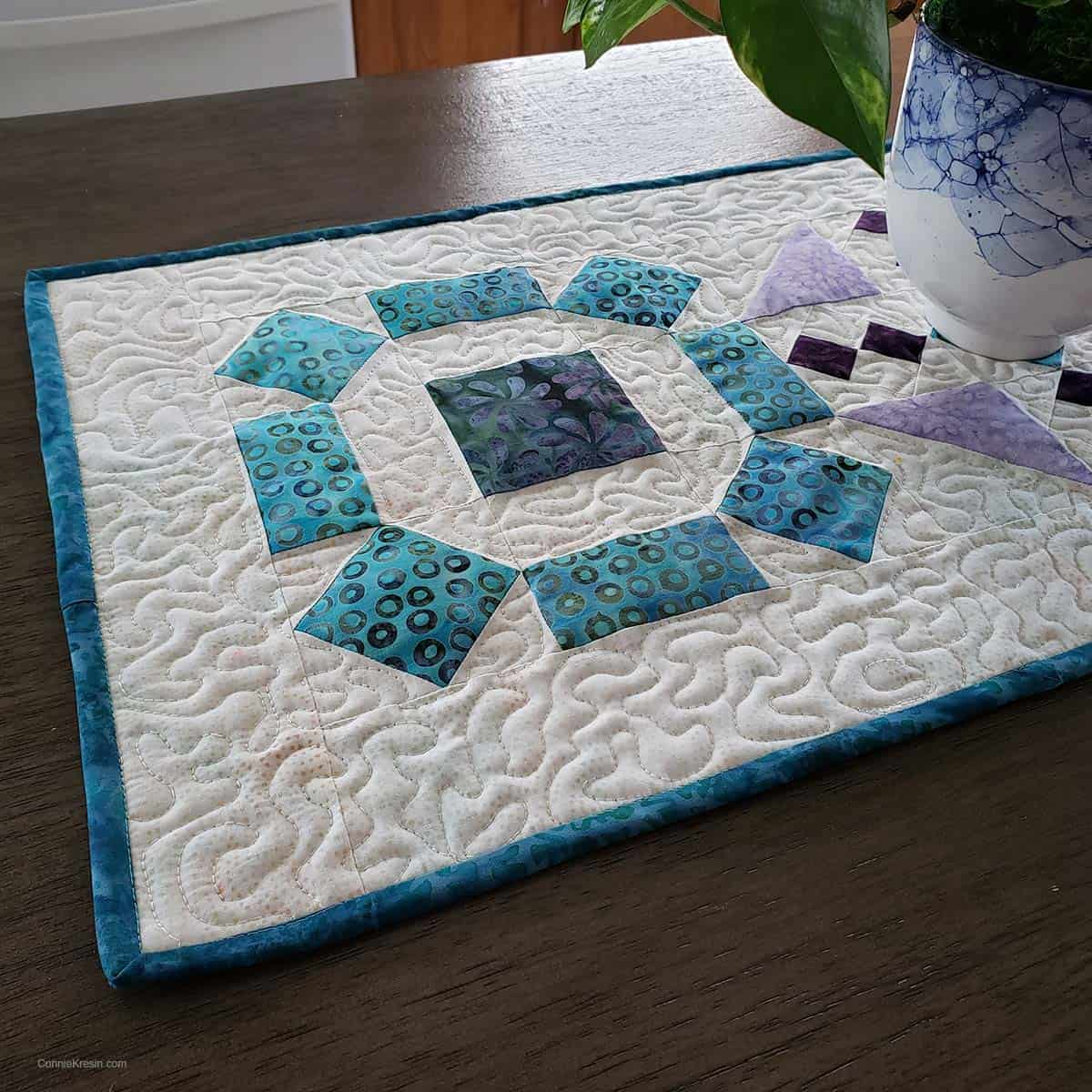 Binding on Board Game teal table runner