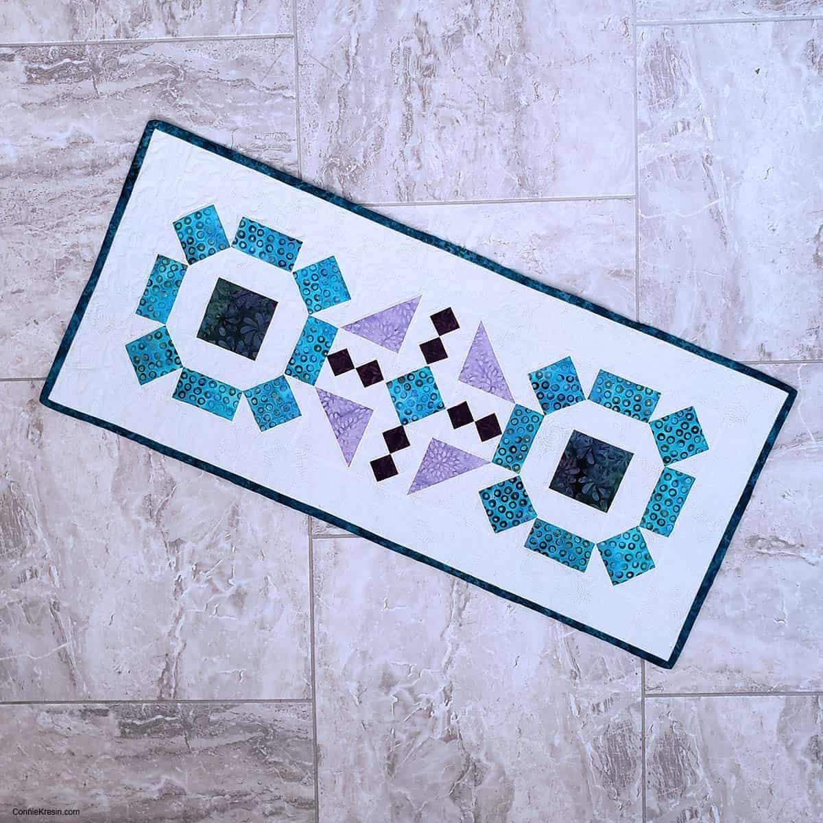 Board game table runner on tile