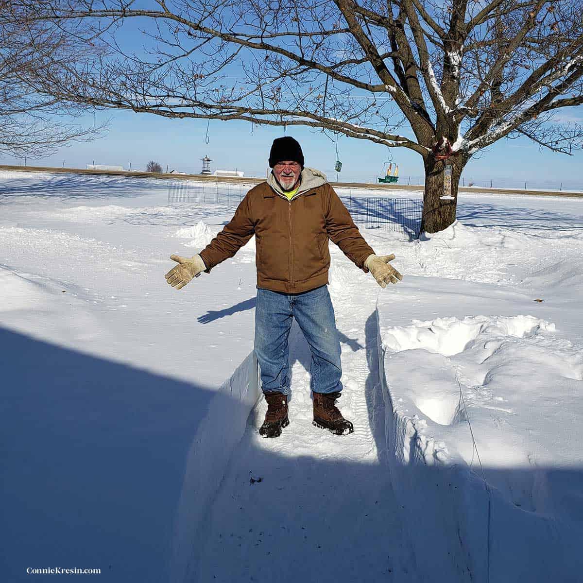 Builder Bob in the snow
