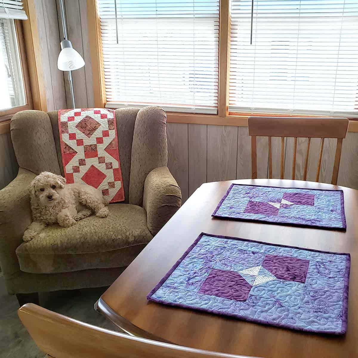 Bow tie quilted placemats on table in kitchen