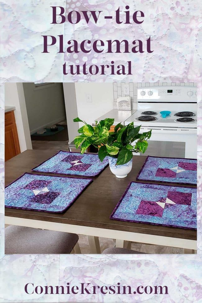 Learn how to make the fast and easy Bow tie quilted placemats