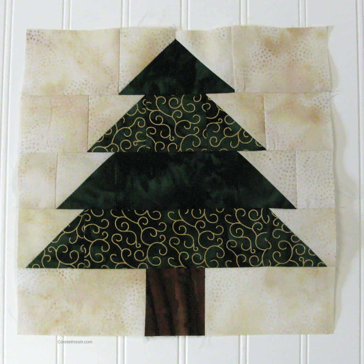 Christmas Tree table runner resized tutorial one completed quilt tree block