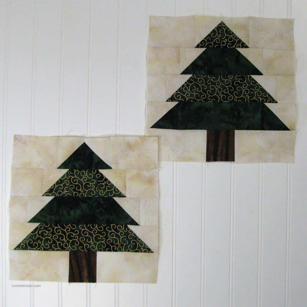 Christmas Tree table runner resized tutorial two quilt blocks