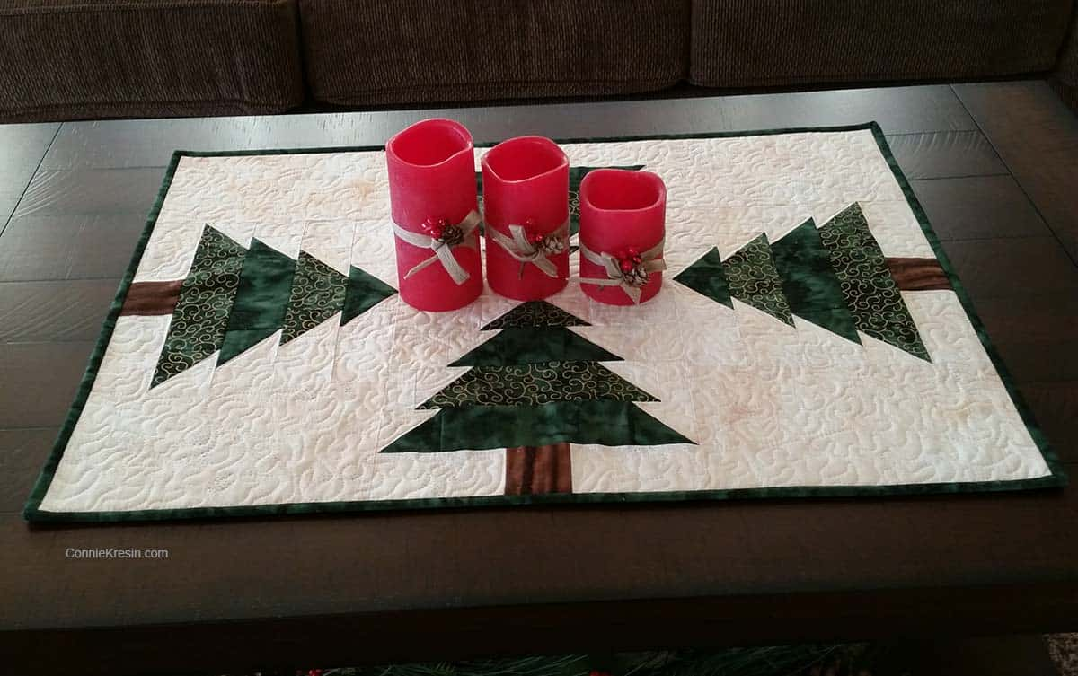 Christmas Tree table runner resized tutorial with red candles on table