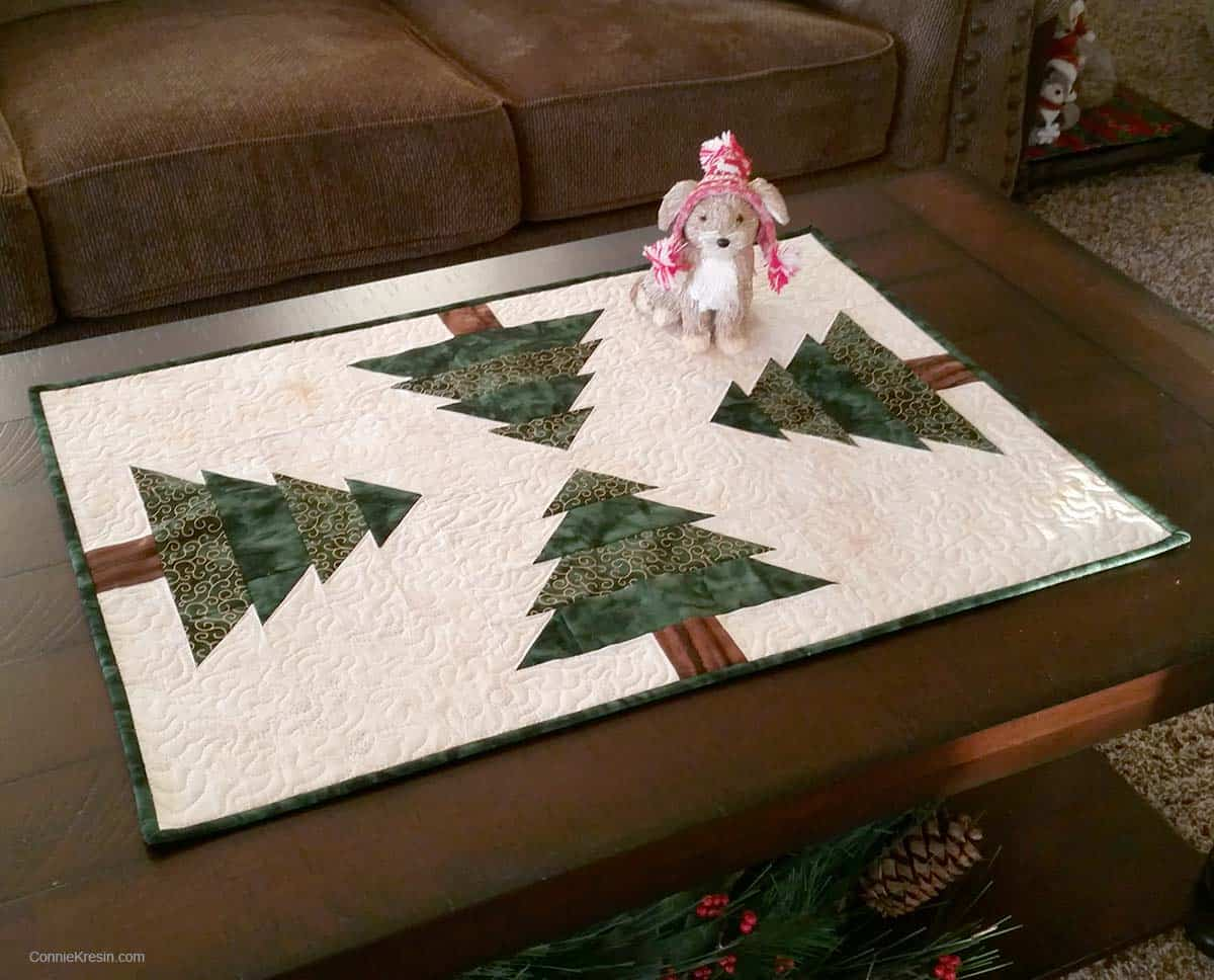 Christmas Tree table runner resized tutorial with mouse