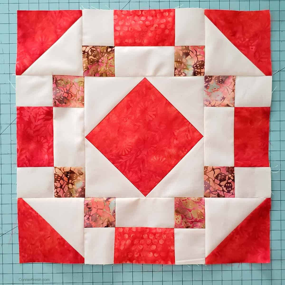 Completed Coral Jewel table runner block