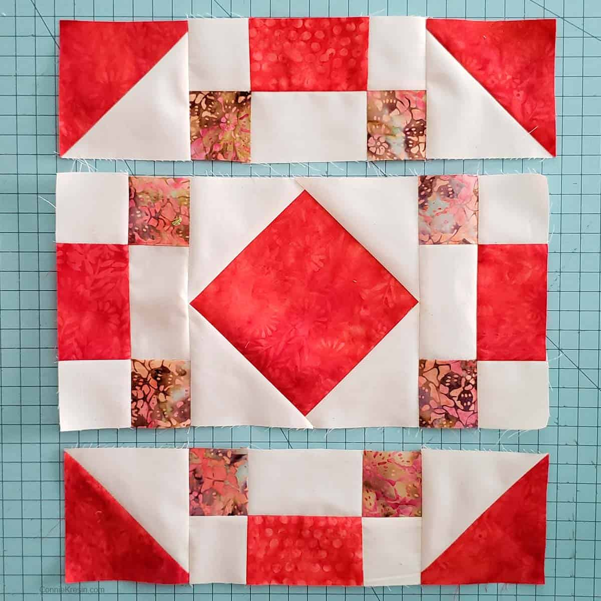 Sew the quilt block rows together