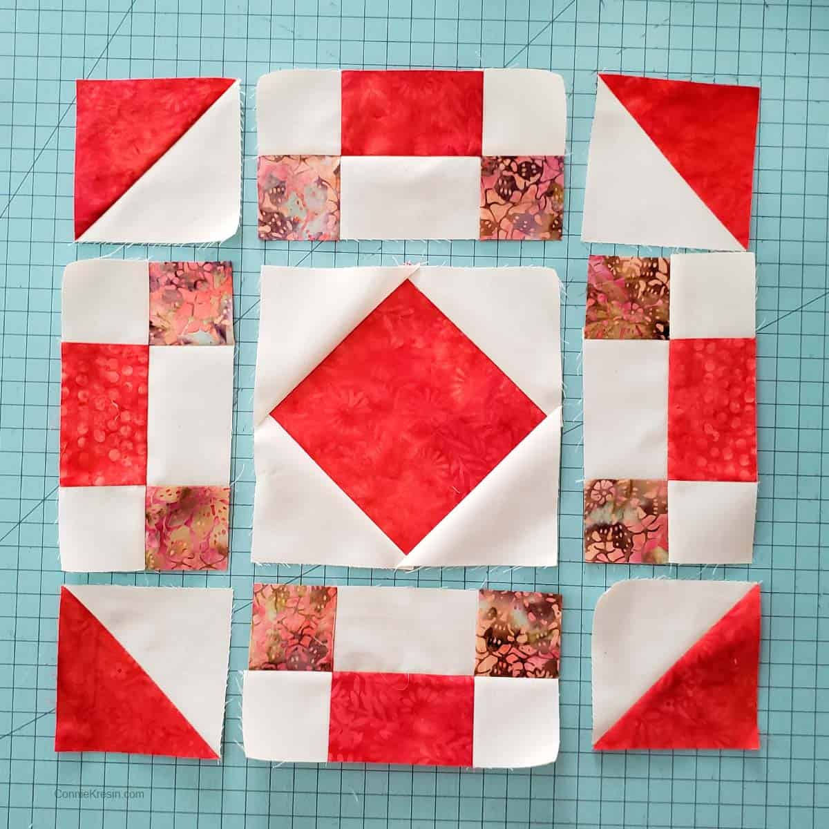 Sections of the Coral Jewel table runner block