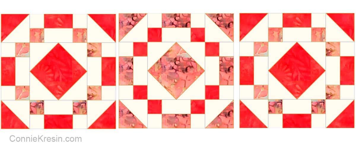 Make three coral jewel quilt blocks