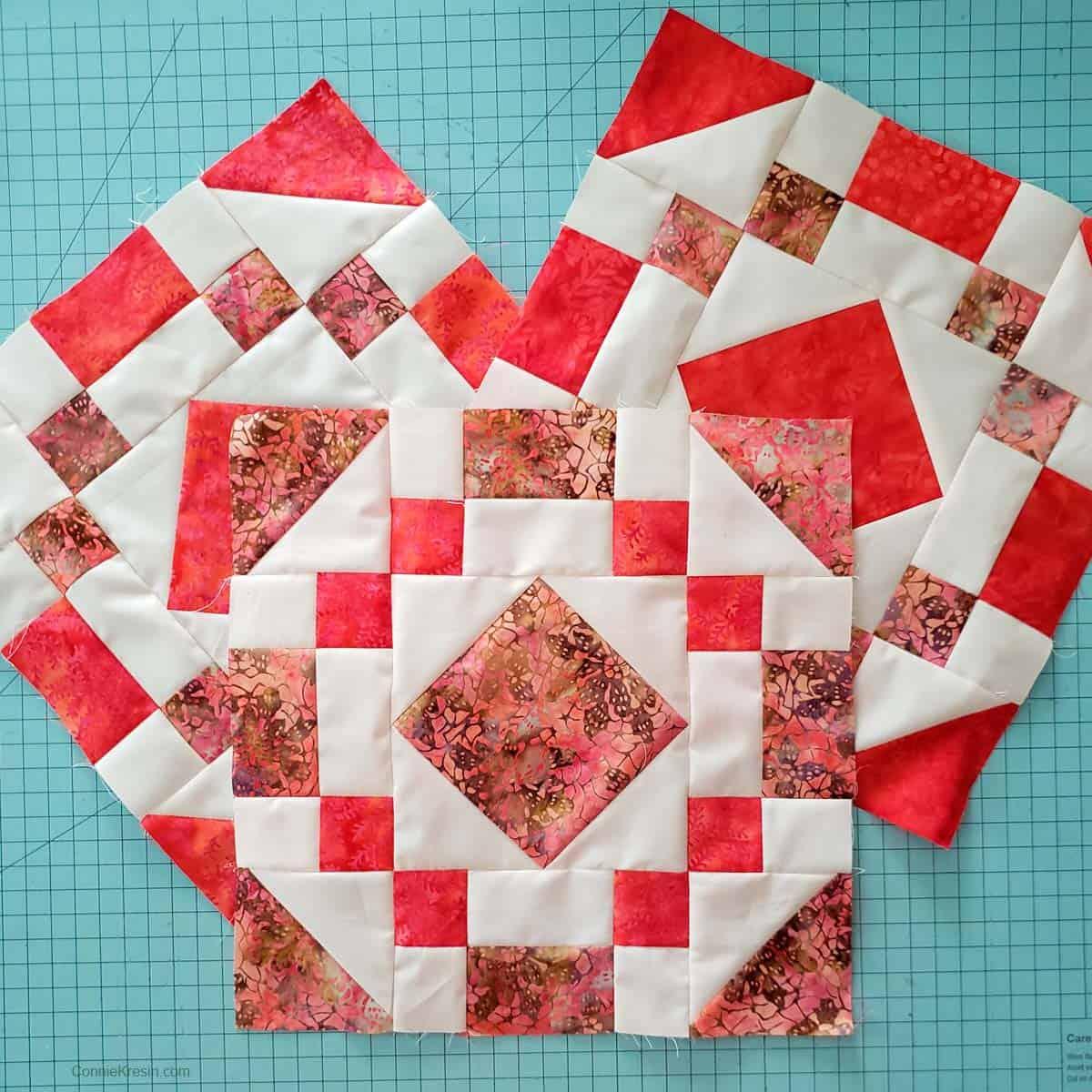 Sew three jewel quilt blocks